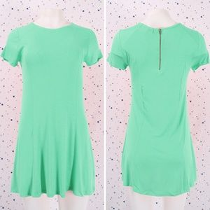 Short Sleeve Zipper Back T-shirt Dress Mint